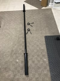 """7-Foot Olympic Barbell for 2"""" Black with 2 clips lock North Potomac, 20878"""