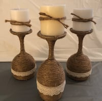 Twine Wrapped Wine Glass Candle Holders