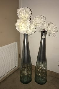 Ombre silver to clear vases with white rose flowers  Kitchener, N2E 1P2