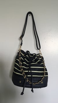 Navy and mint green striped drawstring bucket bag Toronto, M2R 3N7