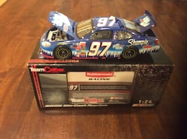 Blue and white car racing die cast car with box