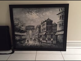 Large Black white people walking on road near buildings painting