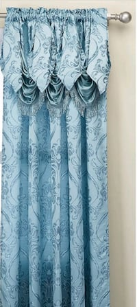 Set of 2 Penelopie Jacquard Look Curtain Panels with valance, new