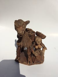 Hand-Carved Alpaca or Llama with Girl Small Statue Figurine Chantilly