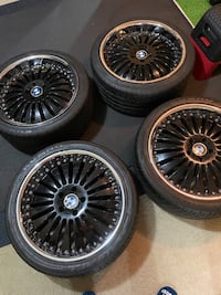 """4 Bmw tires and rims, Crome lip, low profile 20"""" tires  Severn, 21144"""
