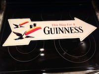 Authentic Guinness Thin Aluminum Arrow Shaped Bar Sign with Toucan