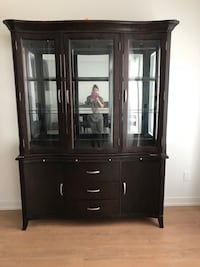 brown wooden framed glass display cabinet Newmarket, L3X 1B8