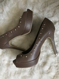 Pair of brown leather platform stilettos Salinas, 93906