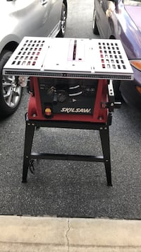 black and red Skilsaw table saw Lampeter