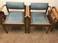Two brown wooden framed gray padded armchairs Barnstable, 02635