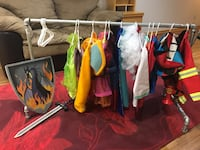 Metal hanging rack for dress up clothes, along with dress up clothes. Melissa and Doug firefighter, doctor. Fisher price and Melissa and Doug doctor kit. Pokémon/ Spider-Man/ frozen cape/ tutu/ Dalmatian outfit/ Mario/ Thomas/ sword and shield. Dress up s Wind Point, 53402