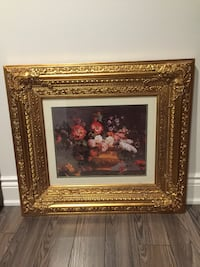 Brown wooden framed painting of flowers Vaughan, L4L 1K2