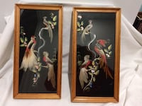 two birds paintings with rectangular brown wooden fraemd