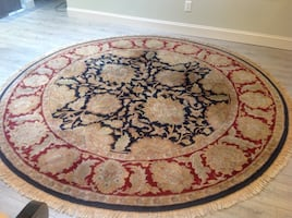 Oriental Round brown and black floral area rug