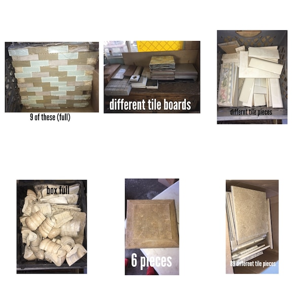 Assorted ceramic tiles and concrete boards photo collage