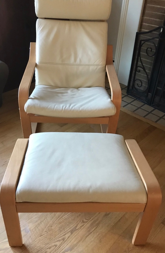 Ordinaire Used IKEA Leather Chair And Ottoman For Sale In Silver Spring   Letgo
