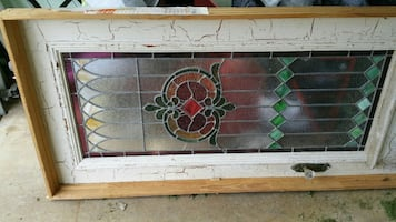 White and brown wooden glass center door panel antique