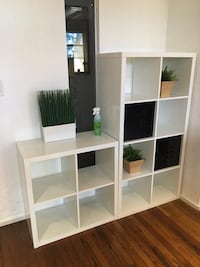 White wooden cube organizers and office shelves
