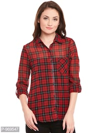 Georgette Red color Stripe Printed Shirt   Ghaziabad, 201003