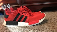 red-and-white Adidas NMD sneakers