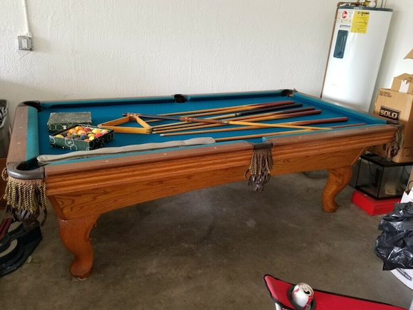 Pleasing Blue And Brown Wooden Pool Table In Good Comdicion Whit All Toys Beutiful Home Inspiration Xortanetmahrainfo