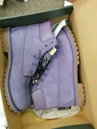 pair of purple Timberland nubuck work boots with box
