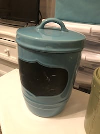 Blue chalk board canister pottery