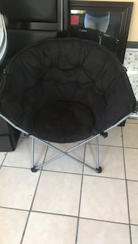 black and gray steel moon chair