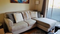 White fabric/linen sectional sofa with throw pillows Los Angeles, 90025