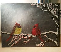 24x18 inches cardinals acrylic painting  Vaughan, L6A 4C8