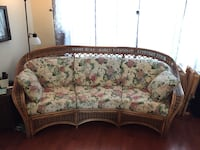Brown bamboo  framed floral padded 3-seat sofa Easton, 18040