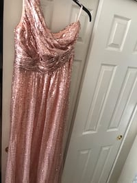 rose gold Sequence one strap dress