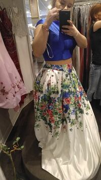 Blue and floral 2 piece prom dress Oklahoma City, 73160