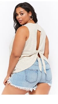Plus size striped cutout tank top.