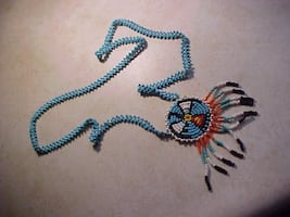 Hand Made Medallion Thunder Bird Native American Seed Bead Necklace