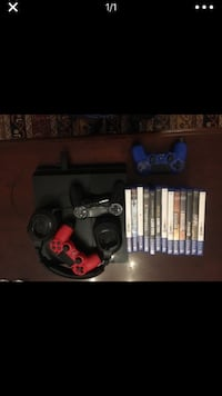 Black sony ps4 console with controller and game cases Norfolk, 23505