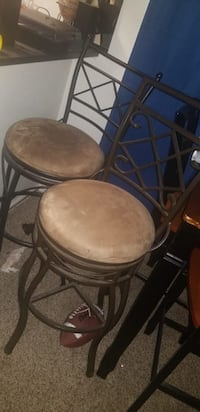 two brown wooden bar stools San Antonio