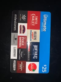 $25 Ultimate dining card for sale Brampton