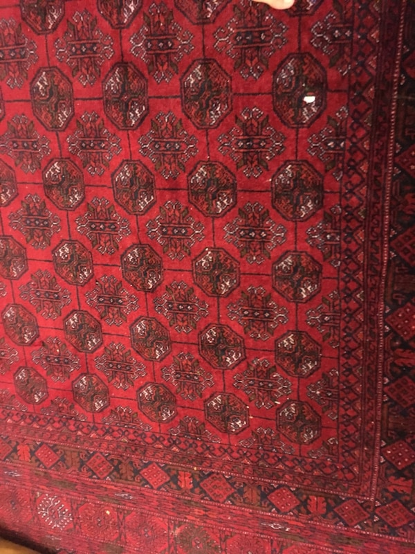 "Afghan mauri Red, black, and white area rug 76""x112"""