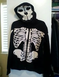 black skeleton-printed hoodie jacket