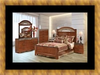 brown wooden bed frame with white mattress Temple Hills