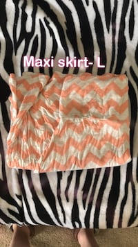 Orange and white/ cream chevron maxi skirt 1765 mi