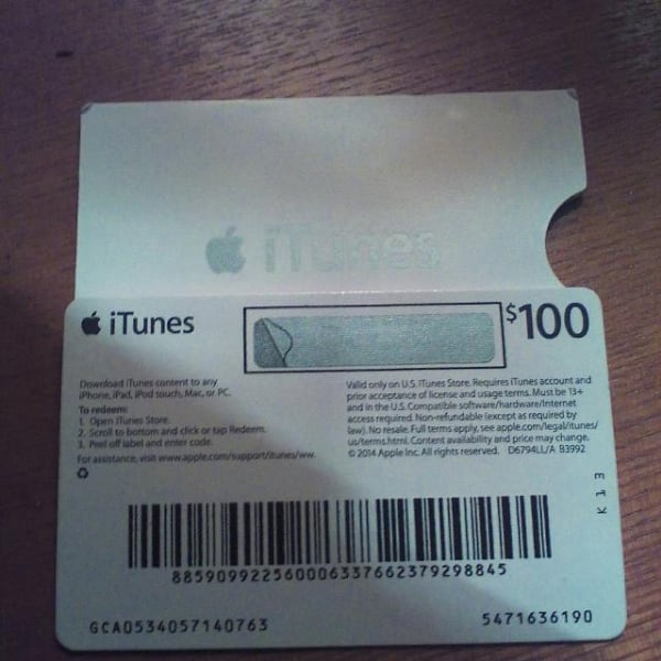 Apple ITunes 100$ Gift Card