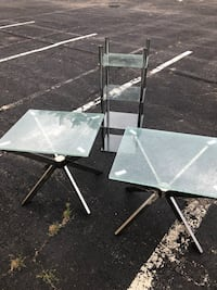 Glass coffee tables and glass shelving