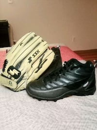 Baseball glove and cleats