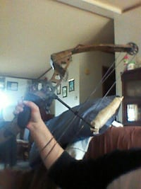brown and black compound bow