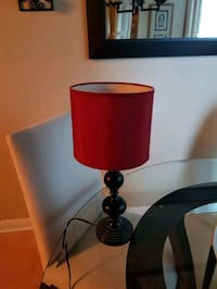 Lamp with red shade
