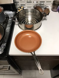 stainless steel and brown cooking pot New York, 10009