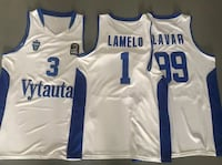three white-and-blue basketball jerseys Los Angeles