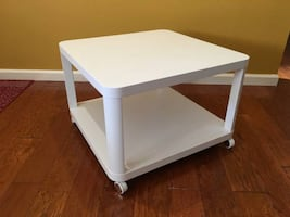 White rolling side table